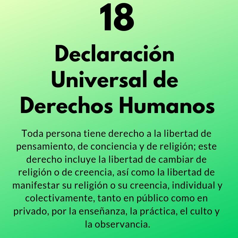 Artículo 18 de la Declaración Universal de los Derechos Humanos